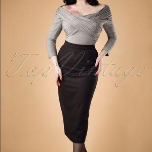 Collectif Miranda Wiggle Skirt Black Herringbone